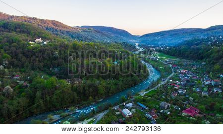 Drone View Of Mountains And Plastunka Village In The Valley Of The Sochi River In Spring Evening, So