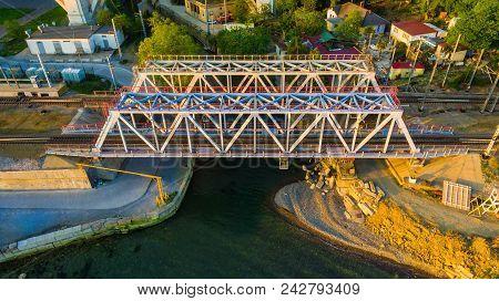 Drone View Of The Railway Bridge Over The Matsesta River In Sunny Summer Day, Sochi, Russia