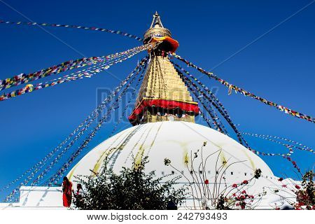 Swayambhunath Stupa Is An Ancient Religious Architecture Atop A Hill In The Kathmandu Valley Nepal.a