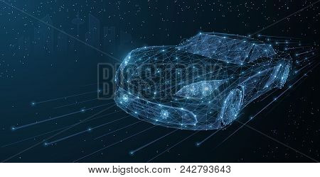 Vector High Speed Motion Car Night City Drive. Abstract Wire Low Poy Car Illustration On Dark Blue C