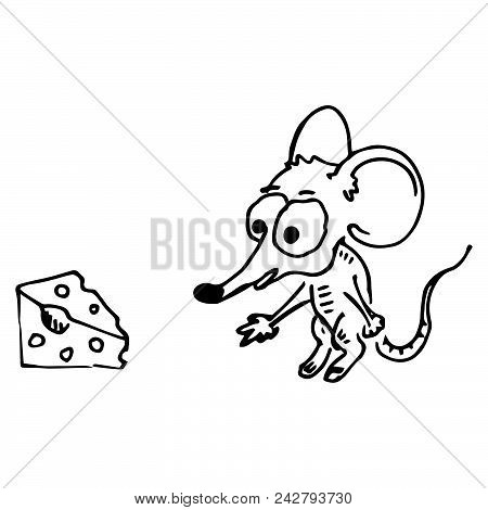 Cartoon Mouse Reaches For A Piece Of Cheese. Mouse And Cheese. Vector Illustration.