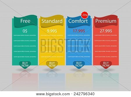 Set Of Offer Tariffs. Ui Ux Vector Banner For Web App. Set Of Pricing Table, Order, Box, Button, Lis
