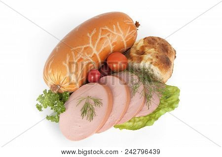 Fresh Boiled Sausage On Green Leaves With Tomatoes And Bread. Isolate On White Background. Sausage W