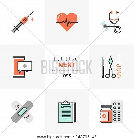 Modern Flat Icons Set Of Healthcare Service, Doctor Prescription. Unique Color Flat Graphics Element