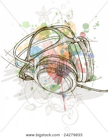 sketch of headphones on the color paint background with floral patterns (calligraphy ornament with stylized orchid). Bitmap copy my vector ID 70775554