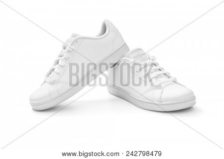 White sneakers on white background, including clipping path
