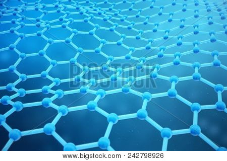 3d Rendering Abstract Nanotechnology Hexagonal Geometric Form Close-up. Graphene Atomic Structure Co