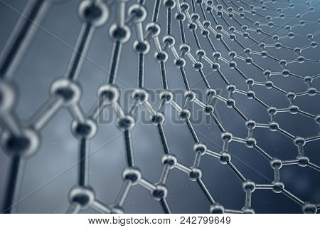 3d Rendering Structure Of The Graphene Tube, Abstract Nanotechnology Hexagonal Geometric Form Close-