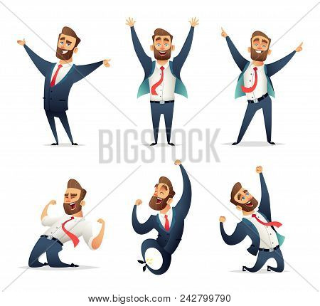 Collection Of Successful Charming Businessman  Character In Different Dynamic Poses. Business Men Re