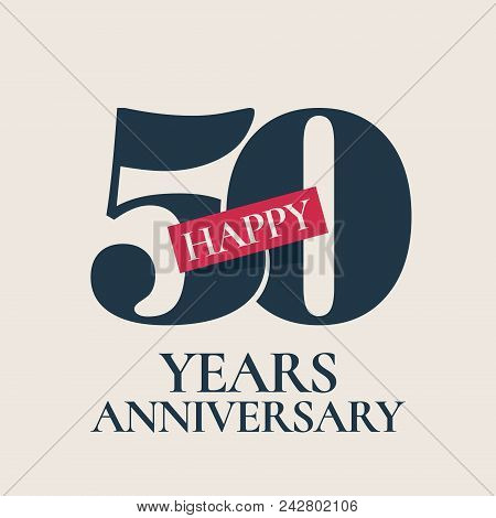 50 Years Anniversary Vector Logo, Icon. Template Design Element, Symbol With Number For 50th Anniver