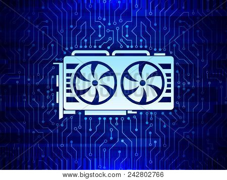 Abstract Mine Concept With Video Card. Gpu Mining Digital Money. High-tech Circuit Board Texture
