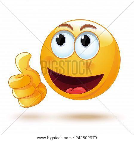 Emoji Thumb Up. Laik. Cool. Emoticon Showing Thumb Up. Vector Illustration