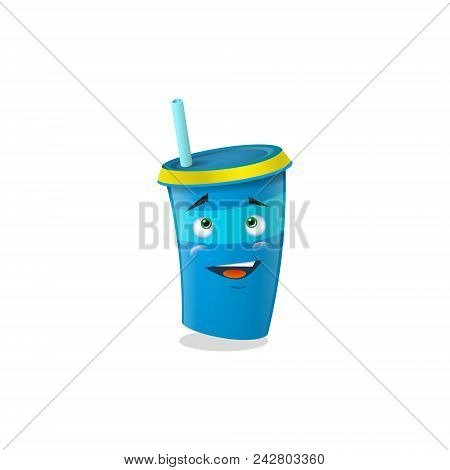 Color Illustration Of A Blue Cartoon Funny Shy  Paper Cup With Straws