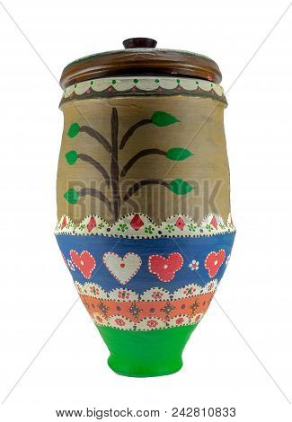 Colorful Egyptian Handcrafted Decorated Artistic Pottery Jar Isolated On White