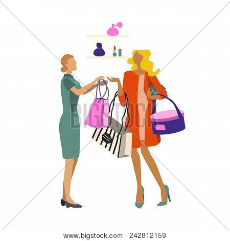 Shopping People. Woman With Purchases. Seller-consultant Hands Over The Package With The Purchase Of
