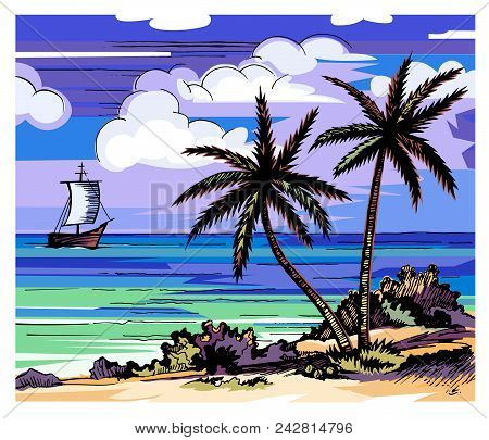 Palm Trees And Sea Vector Color Sketch. Evening Beach. Two Lonely Palms On The Shore. Coconuts. Clou