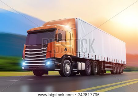 3d Render Illustration Of The Semi-truck Driving The Wet Highway In Sunset With Motion Blur Effect