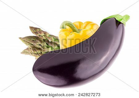 Isolated Vegetables. Fresh Eggplant, Green Asparagus And Sweet Peppers Bell Over White Background Wi