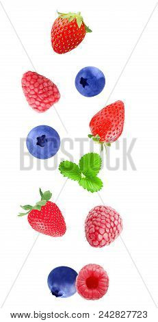 Isolated Flying Berry Fruits. Falling Strawberry, Blueberry And Raspberry Fruits  Isolated On White