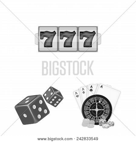 Casino And Equipment Monochrome Icons In Set Collection For Design. Gambling And Money Vector Symbol