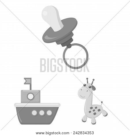 Children Toy Monochrome Icons In Set Collection For Design. Game And Bauble Vector Symbol Stock Illu