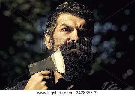 Serious Man. Portrait Of One Handsome Strong Stylish Male Logger Of Young Serious Man With Long Lush