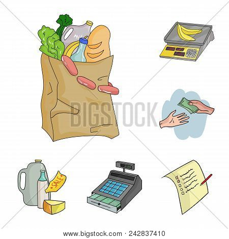 Supermarket And Equipment Cartoon Icons In Set Collection For Design. Purchase Of Products Vector Sy
