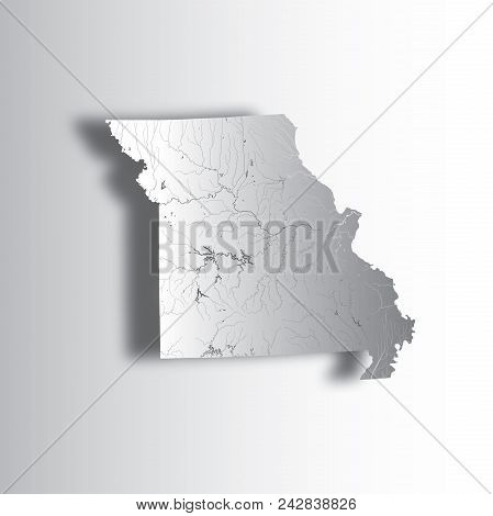U.s. States - Map Of Missouri With Paper Cut Effect. Hand Made. Rivers And Lakes Are Shown. Please L