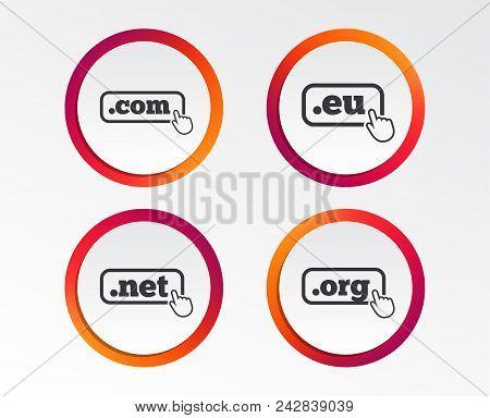 Top-level Internet Domain Icons. Com, Eu, Net And Org Symbols With Hand Pointer. Unique Dns Names. I