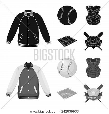 Playground, Jacket, Ball, Protective Vest. Baseball Set Collection Icons In Black, Monochrome Style