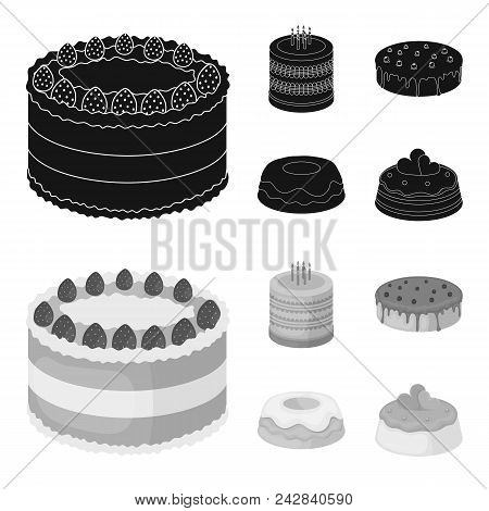 Sweetness, Dessert, Cream, Treacle .cakes Country Set Collection Icons In Black, Monochrome Style Ve