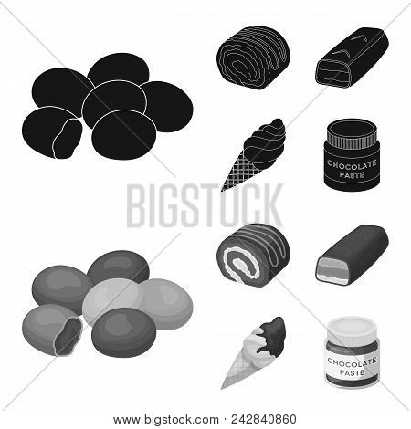 Dragee, Roll, Chocolate Bar, Ice Cream. Chocolate Desserts Set Collection Icons In Black, Monochrome