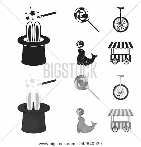 Lollipop, Trained Seal, Snack On Wheels, Monocycle.circus Set Collection Icons In Black, Monochrom S