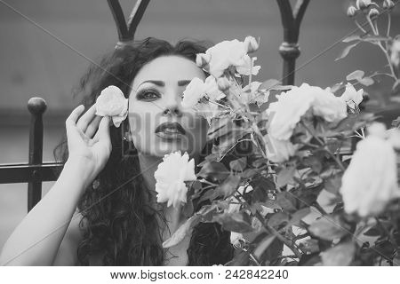 Sensual Woman Body. Enchanting Adorable Young Woman With Fashion Bright Makeup Curly Long Brown Hair