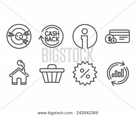Set Of Discount, Targeting And Payment Method Icons. Cashback, Shop Cart And Update Data Signs. Spec