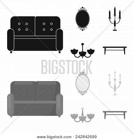 Sofa, Mirror, Candlestick, Chandelier.furniturefurniture Set Collection Icons In Black, Monochrome S
