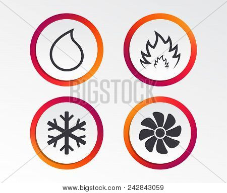 Hvac Icons. Heating, Ventilating And Air Conditioning Symbols. Water Supply. Climate Control Technol