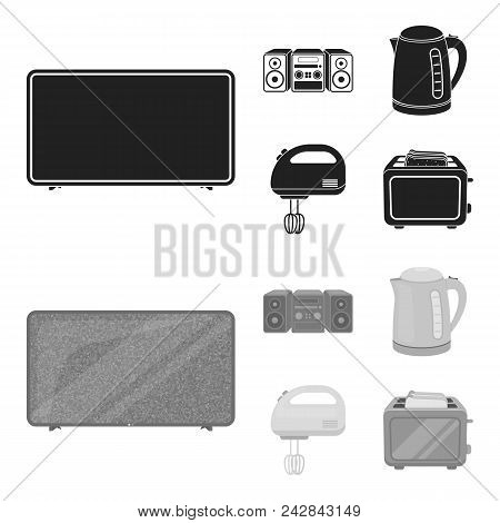 Electric Kettle, Music Center, Mixer, Toaster.household Set Collection Icons In Black, Monochrom Sty
