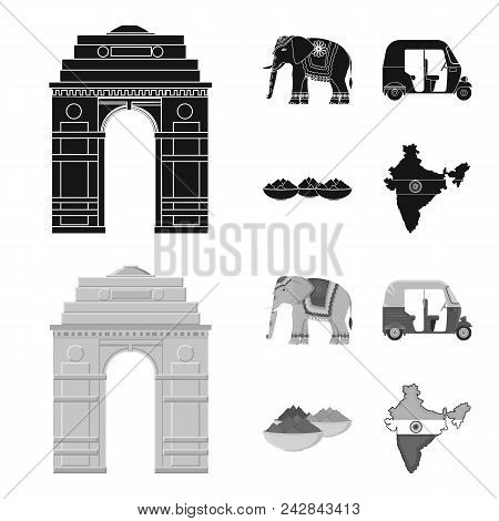 Country India Black, Monochrome Icons In Set Collection For Design.india And Landmark Vector Symbol