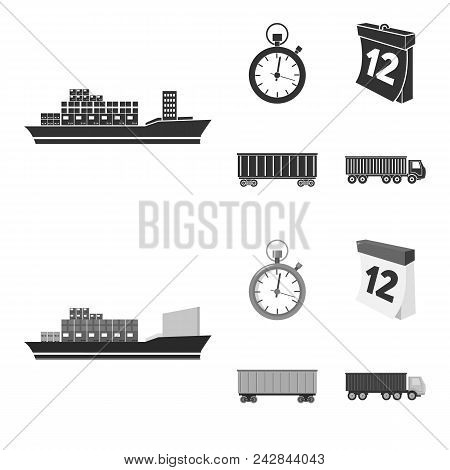 Cargo Ship, Stop Watch, Calendar, Railway Car.logistic, Set Collection Icons In Black, Monochrome St