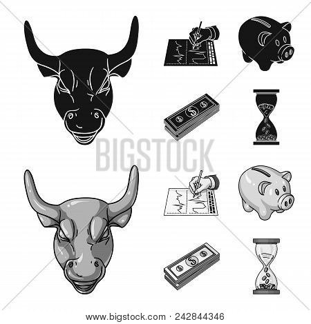 Bank, Business Schedule, Bundle Of Notes, Time Money. Money And Finance Set Collection Icons In Blac