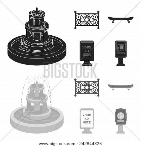 Fountain, Fence, Skate, Billboard.park Set Collection Icons In Black, Monochrome Style Vector Symbol