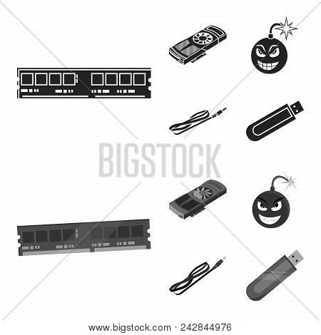 Video Card, Virus, Flash Drive, Cable. Personal Computer Set Collection Icons In Black, Monochrom St