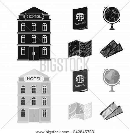 Vacation, Travel, Passport, Globe .rest And Travel Set Collection Icons In Black, Monochrom Style Ve