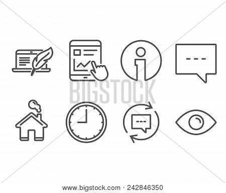 Set Of Time, Blog And Update Comments Icons. Internet Report, Copyright Laptop And Eye Signs. Office