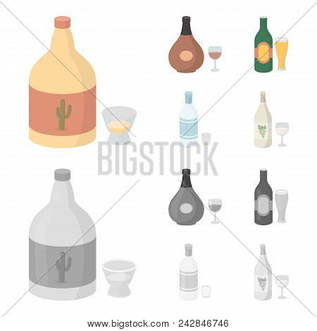 Tequila, Cognac, Beer, Vodka.alcohol Set Collection Icons In Cartoon, Monochrome Style Vector Symbol