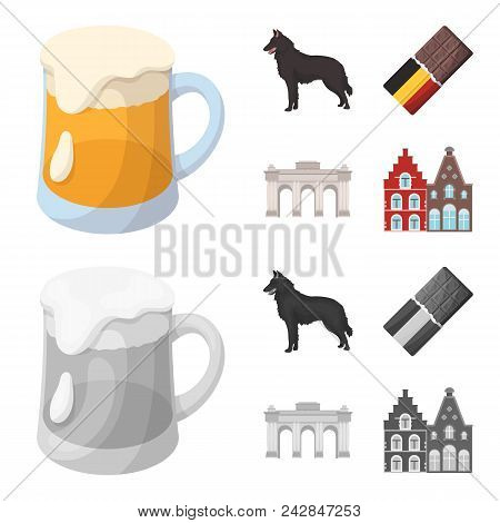 Chocolate, Cathedral And Other Symbols Of The Country.belgium Set Collection Icons In Cartoon, Monoc