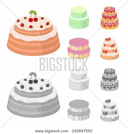Sweetness, Dessert, Cream, Treacle .cakes Country Set Collection Icons In Cartoon, Monochrome Style