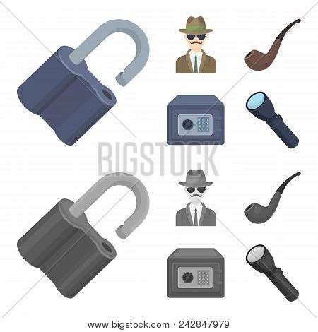 Lock Hacked, Safe, Smoking Pipe, Private Detective.detective Set Collection Icons In Cartoon, Monoch