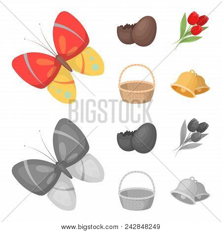 Chocolate Egg, Bells, Basket And Flowers.easter Set Collection Icons In Cartoon, Monochrome Style Ve